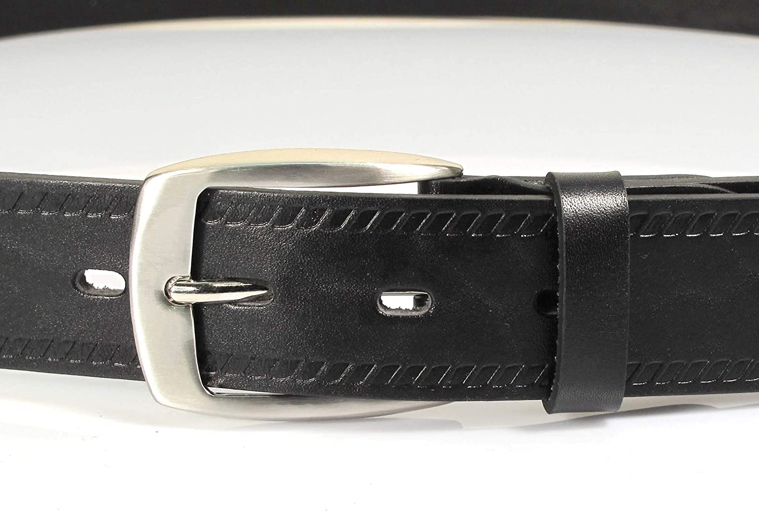 UM4 Mens Real Genuine Leather Black Belt 1.25 Wide S-XL Thick Long Casual Jeans