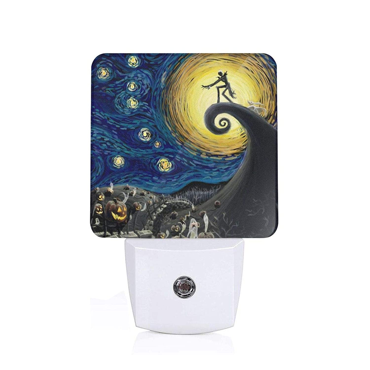 The Nightmare Before Christmas The Starry Night Night Light Plug in White LED Lamp with Dusk to Dawn Sensor for Home Decor Kids Bedroom Hallway Bathroom Kitchen