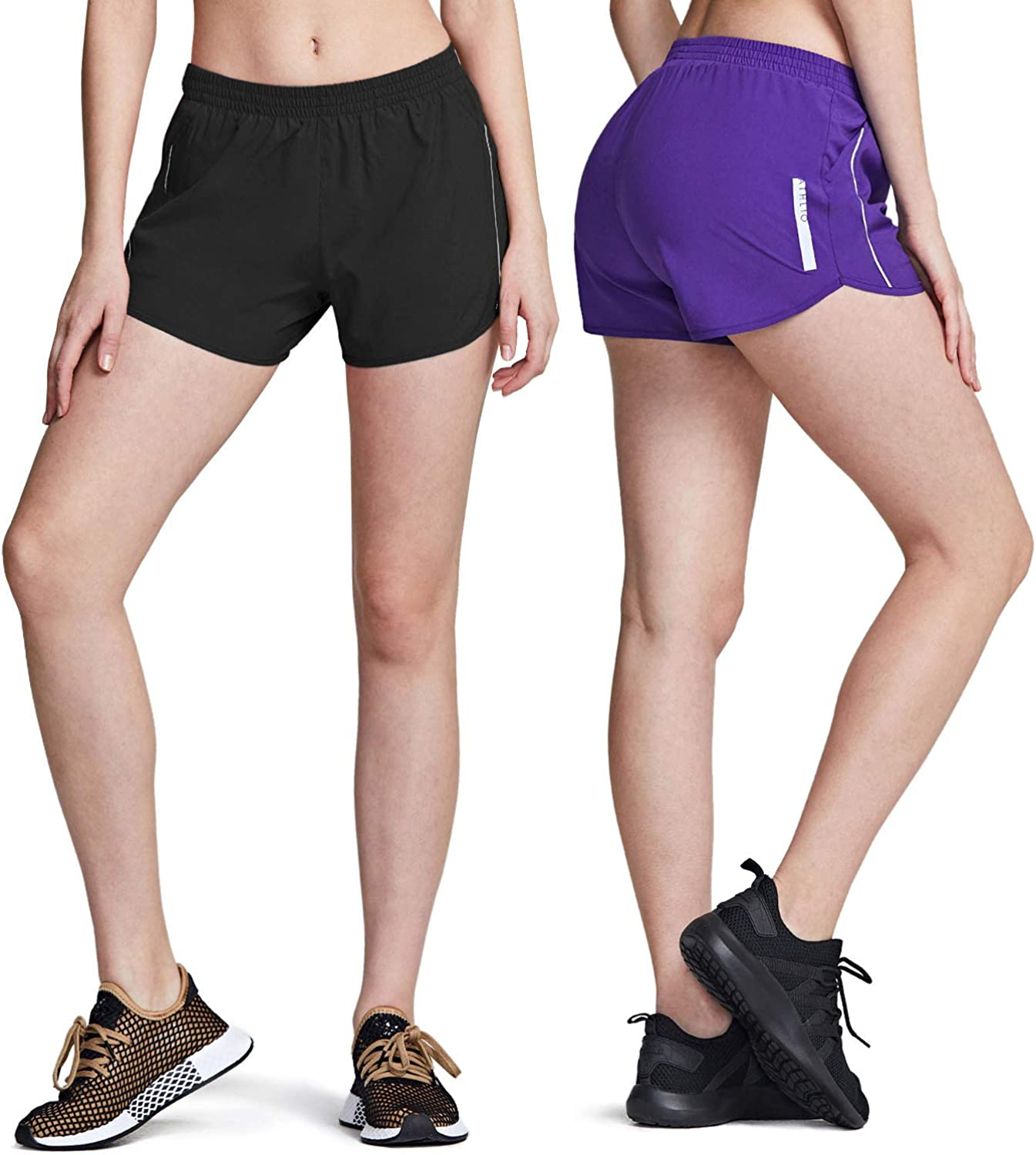 ATHLIO 2 Pack Womens Running Shorts with Pockets Jogging Sports Athletic Shorts Mesh Liner Dry Fit Exercise Workout Shorts