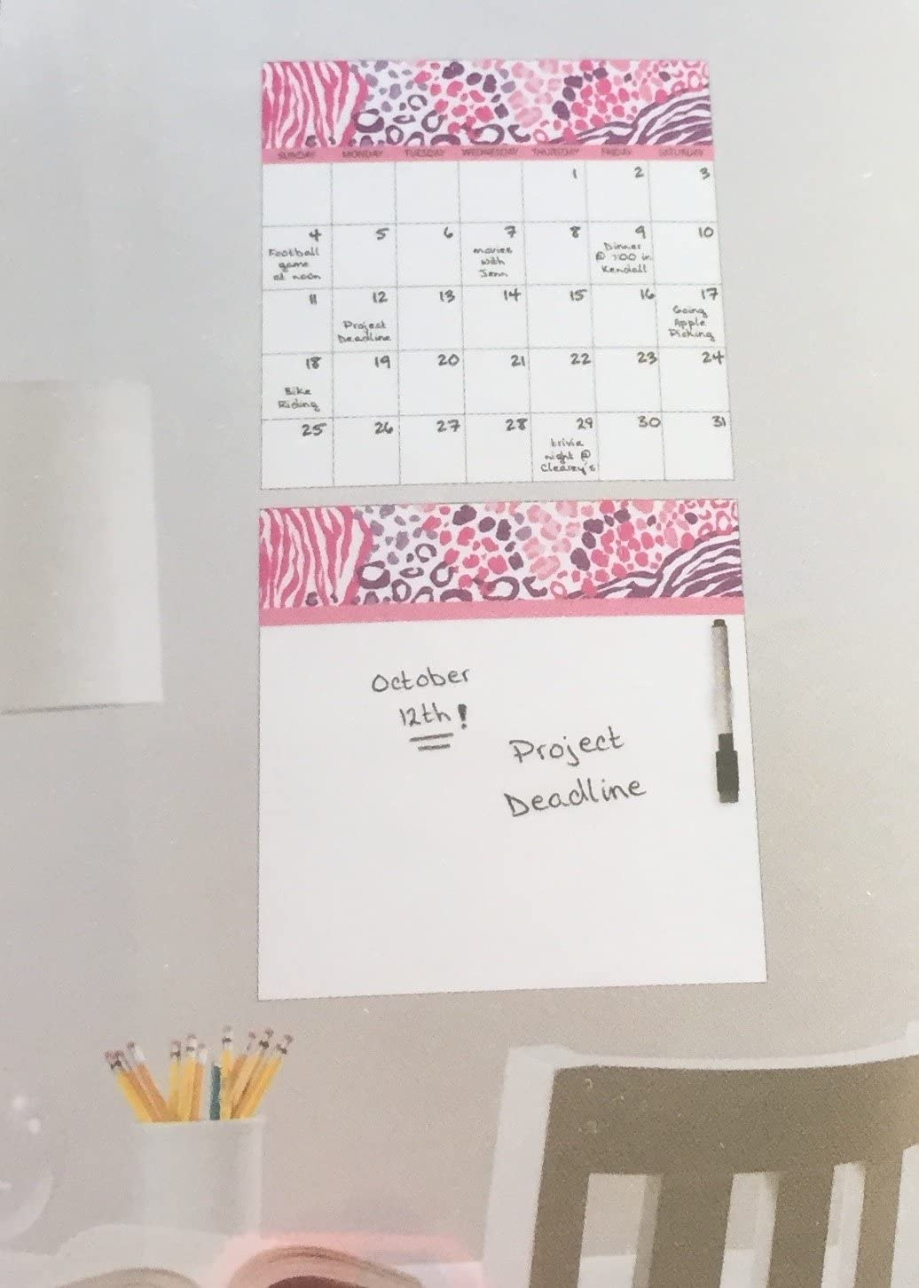 Animal Print Dry Erase Peel & Stick Message Board & Calendar ~ Pink / Purple