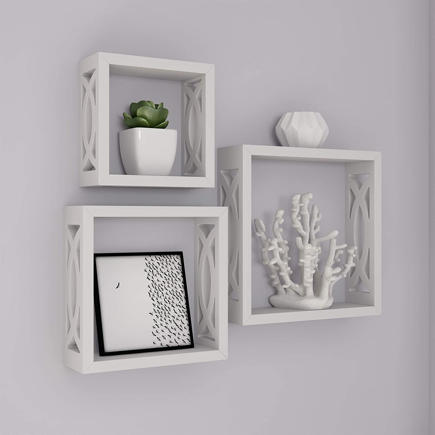 Lavish Home Floating Shelves- Open Cube Wall Shelf Set with Hidden Brackets 3 Sizes to Display Decor, Photos, More-Hardware Included (White)