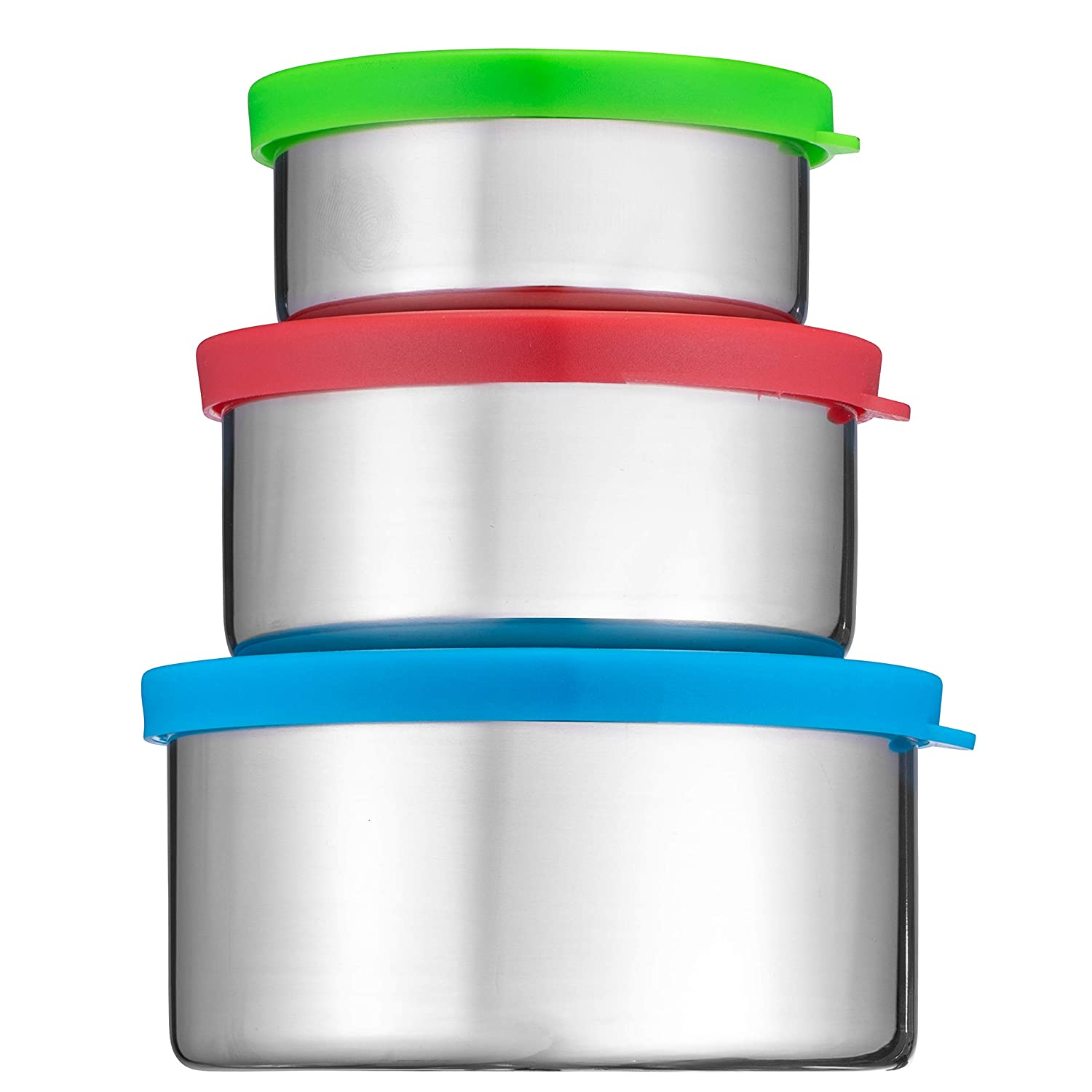 Bruntmor Trio Nesting 18/8 Stainless Steel Food Containers with Leak-Proof Lids, Set of 3