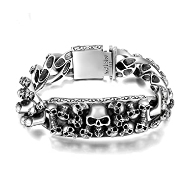 e8f3428ad689e4 MetJakt Men's Punk Skull Bracelet & Hand-embossed Skeleton Solid 925  Sterling Silver Bracelet for