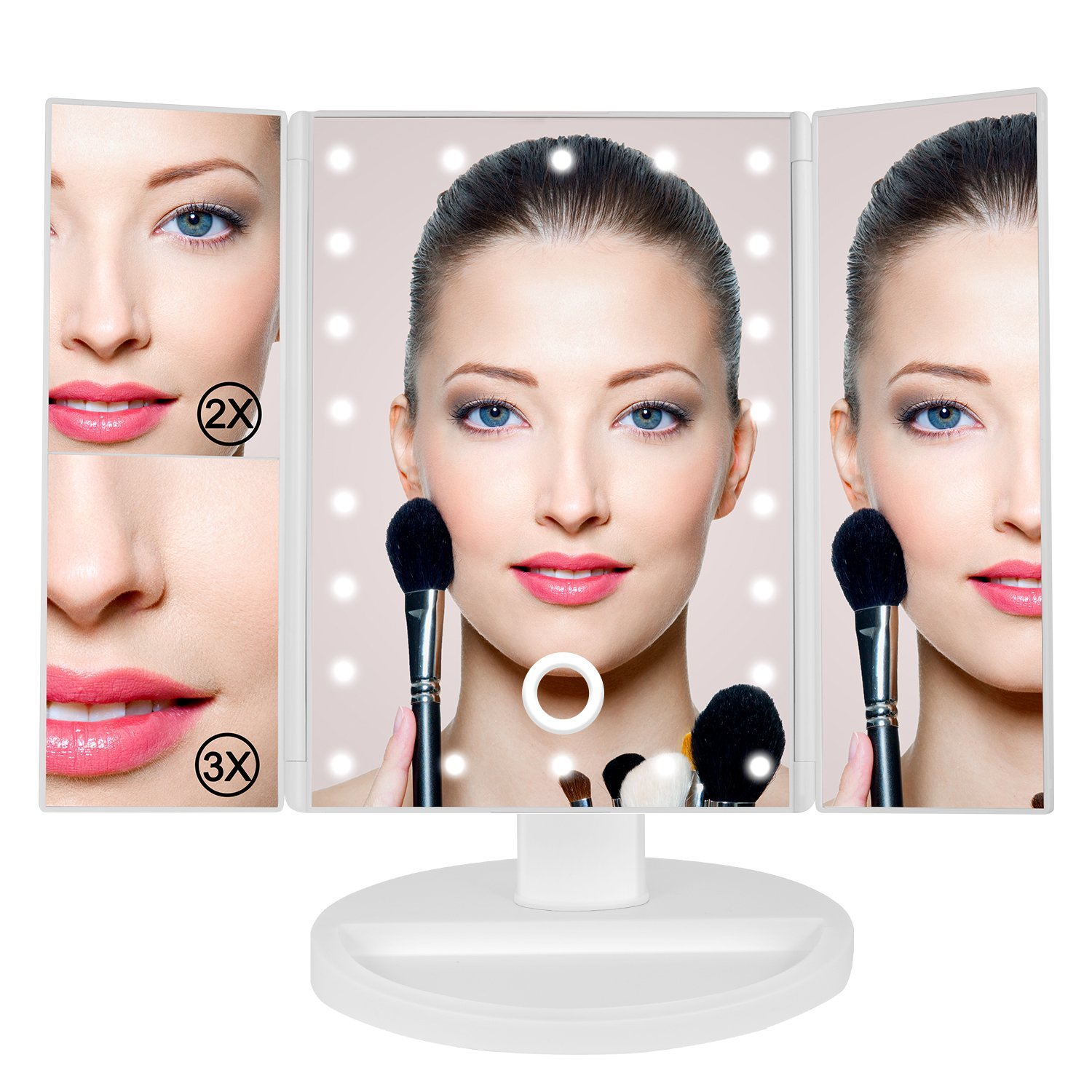BEW Lighted Makeup Mirror LED Trifold Vanity Mirror with Touch Screen 1x/2x/3x Magnification, Valentine's Day Gift (White)
