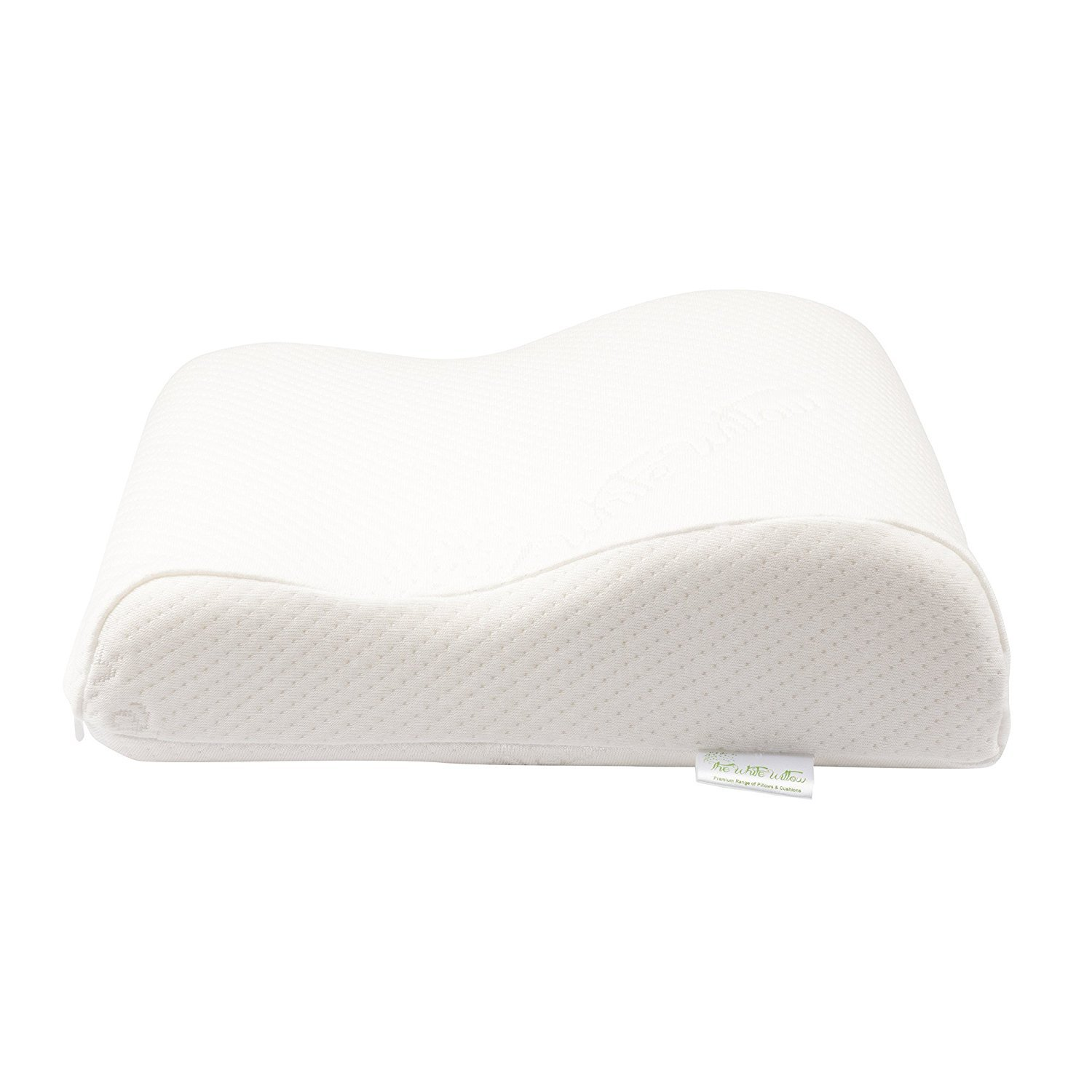 The White Willow Soft Conforming Memory Foam Mini Contour Travel Cushion Cervical Support For Side Sleeper Pillow 11'' x 9'' (4, White Reveries), Free Express Shipping