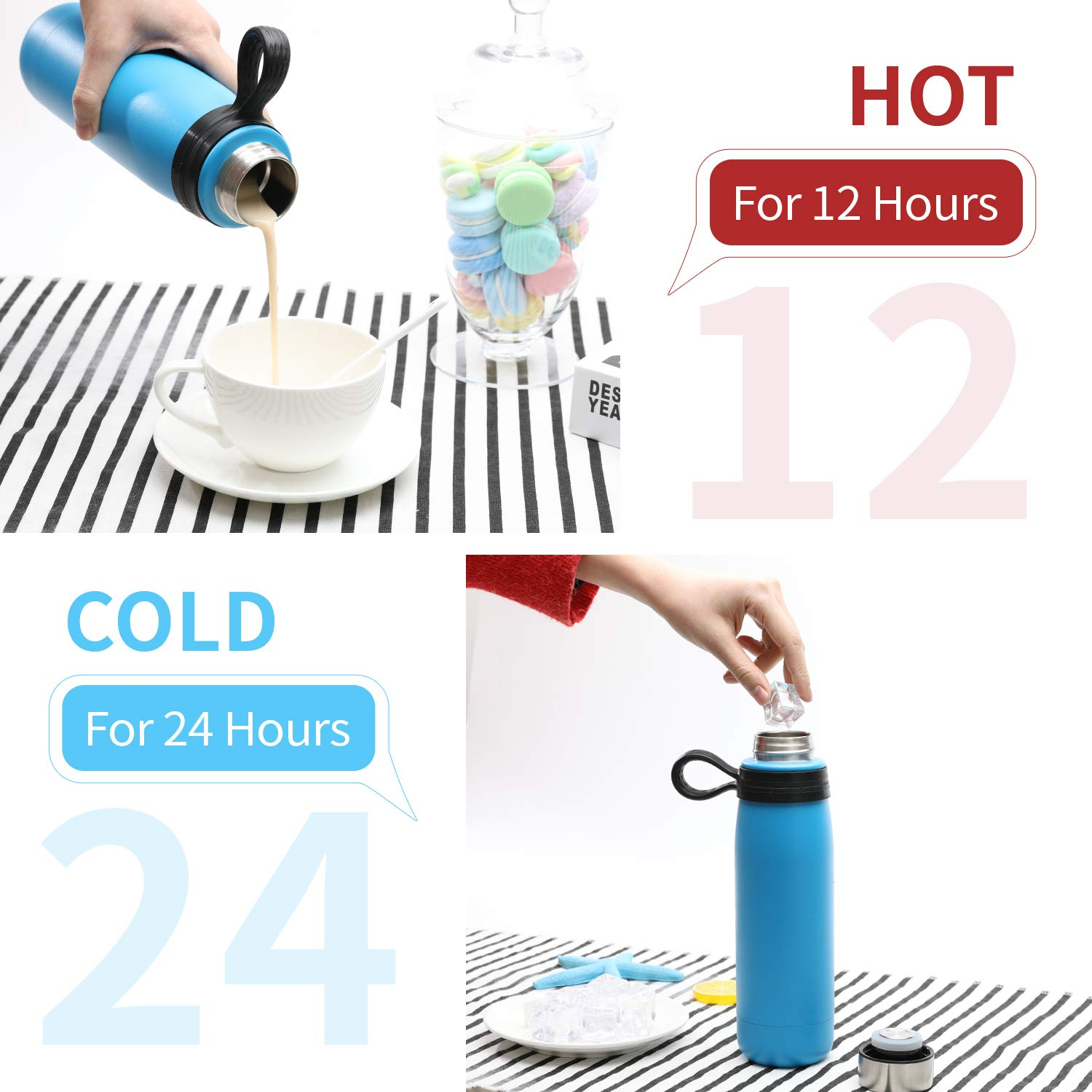 Hot 12 Hours 3Years Warranty 18 oz 530ml New Designed LeakProof 18//8 Stainless Steel Vacuum Insulated Double Wall Drink Bottle Wide Mouth BPA-Free Sports Water Bottle with Removable Silicone Handle Keeps Cold 24 Hours