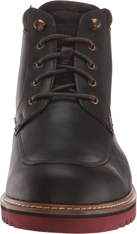 Rockport Men's Marshall Rugged Moc Toe Ankle Boot Dark Bitter