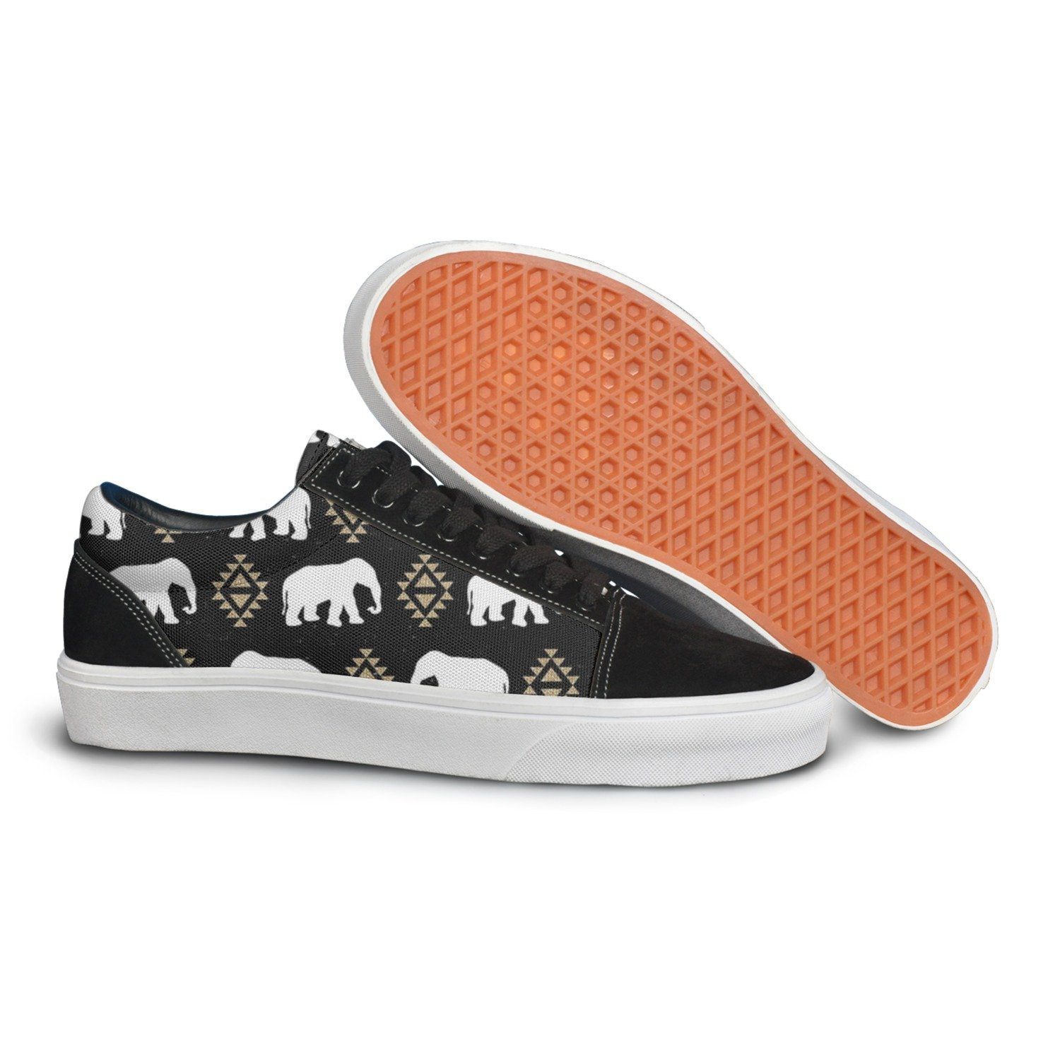 Elephant Pattern Tribal Aztec Triangles Women Casual Sneakers Boat Athletic Cute Trainers