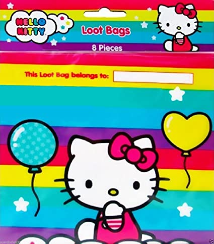 Image Unavailable. Image not available for. Color  Hello Kitty BALLOON RAINBOW  Party Loot Treat Bags (Pack of 8) 8e1fc7eeeb590