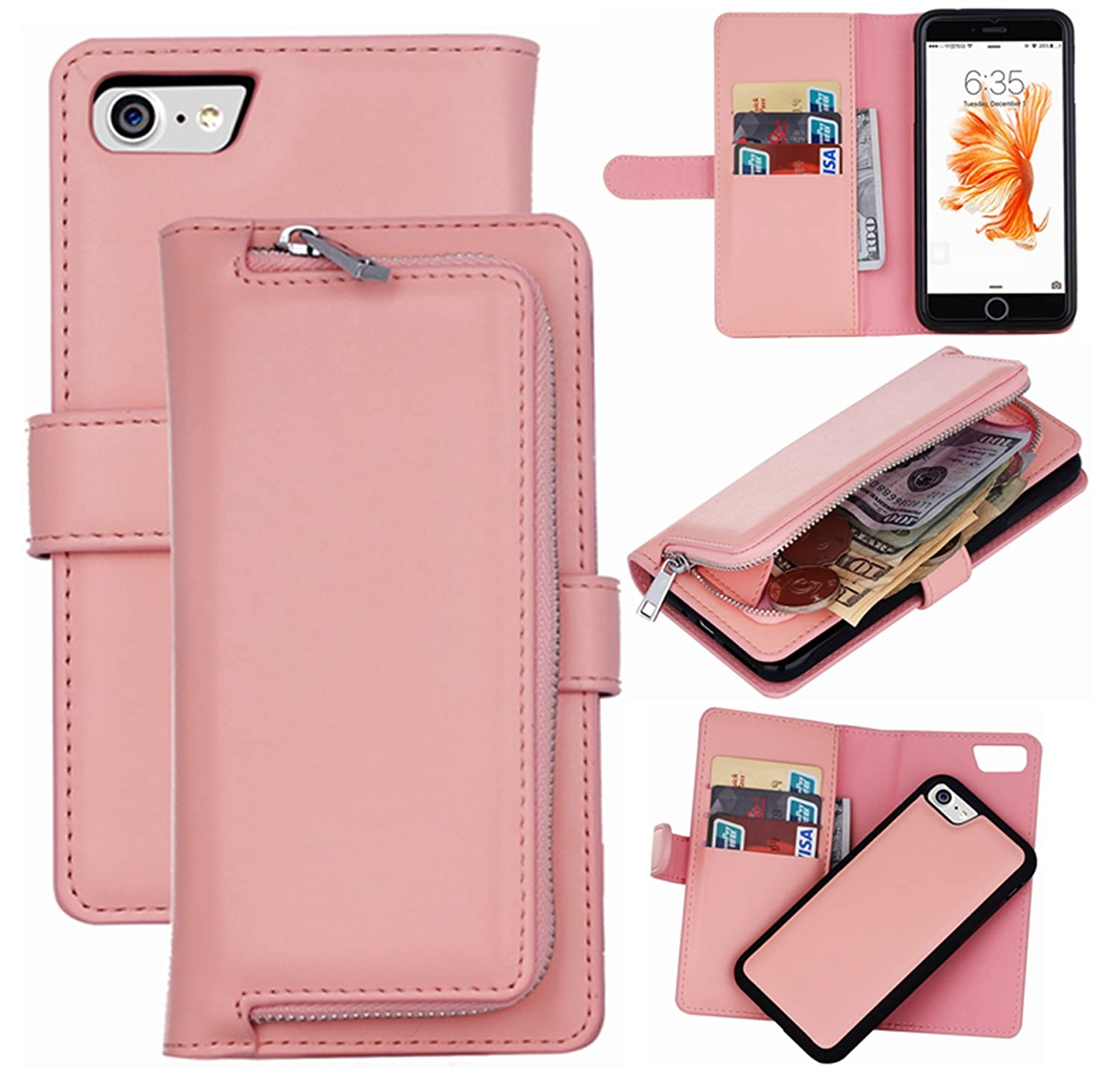 0ef1a1a55356 iPhone 8 Wallet Case,iPhone 7 Case, Hynice Magnetic Detachable PU Leather  Purse for Women Men with Zipper Removable Shock-Absorption Back Cover  Credit ...