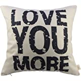 "Love You More Square About Cotton Throw Pillow Cushion Cover, 17.5"" x 17.5"""