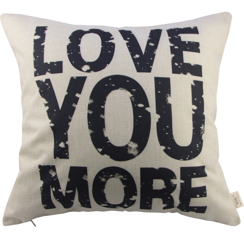 HOSL Decorative Pillowcase Throw Pillow Cushion Cover Love You More Square About 17.317.3 Inch(44CM44CM)