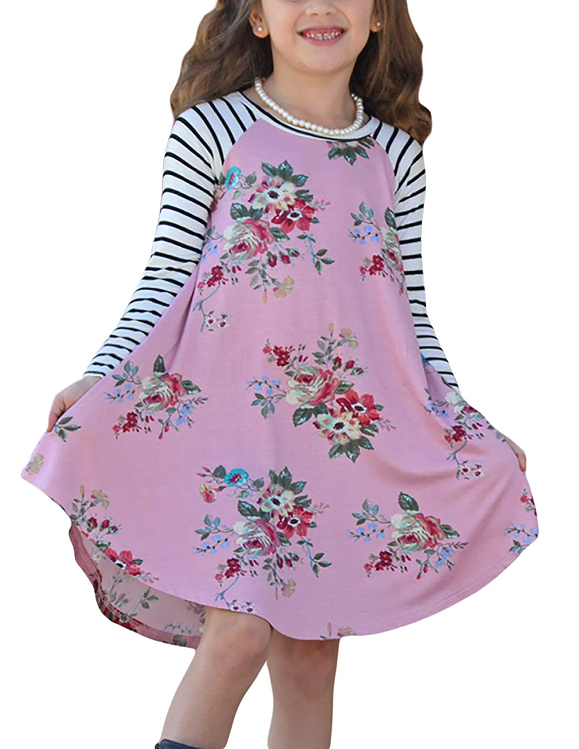 Blibea Girls Floral Print Long Sleeve Boho Empire Waist Midi Dress with Pockets