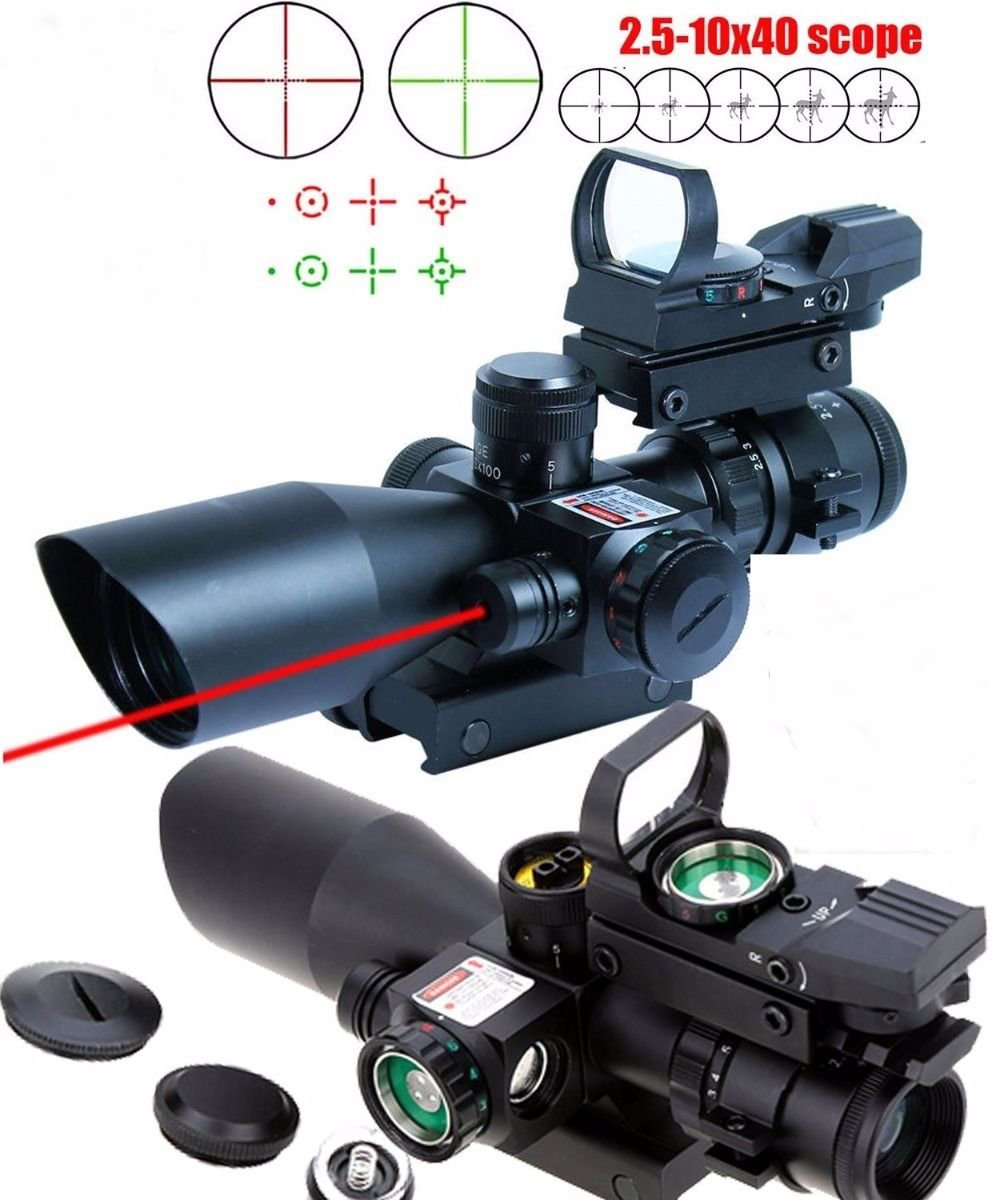 X-Aegis New Style 2.5-10x40 Rifle Scope with Integrated gun sight lasers Dual Illuminated Mil-dot , Rail Mount and 4 Reticle Red and Green Dot Open Reflex Sight by XAegis