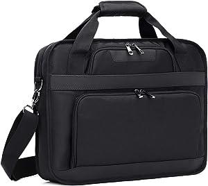 Estarer Laptop Shoulder Bag 17-17.3 inch Water-Resistant Business Laptop Bag for Business College Travel - Black
