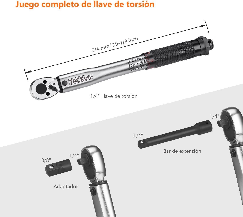 TACKLIFE Cl/é dynamom/étrique Barre dextension de calibrage 24T R/éducteur de 3//8 Bo/îte Certifi/ée 1//2 pour Auto MOTO-HTW2A 13.6-203.5NM
