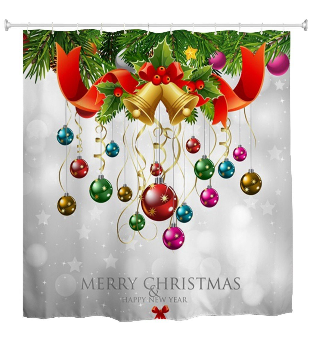 Amazon.com: Goodbath Christmas Shower Curtains, Merry Christmas ...