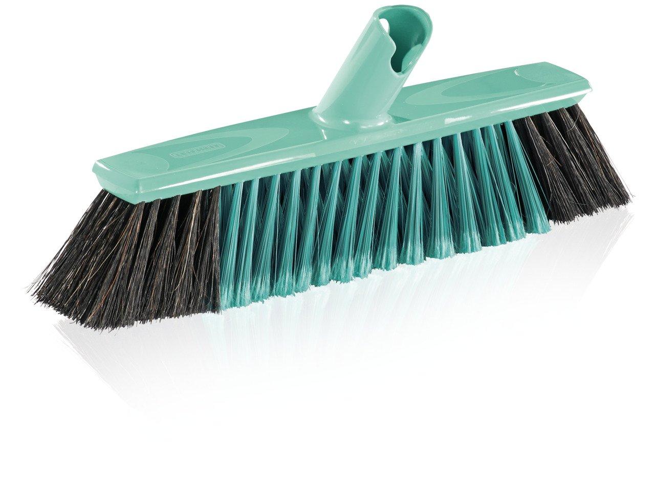 Leifheit Parquet Broom Xtra Clean 30 cm, Natural Hair, House Brush, Dustpan Brush, Mint Green, 45033