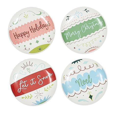 dii christmas ornament porcelain appetizer plates set of 4