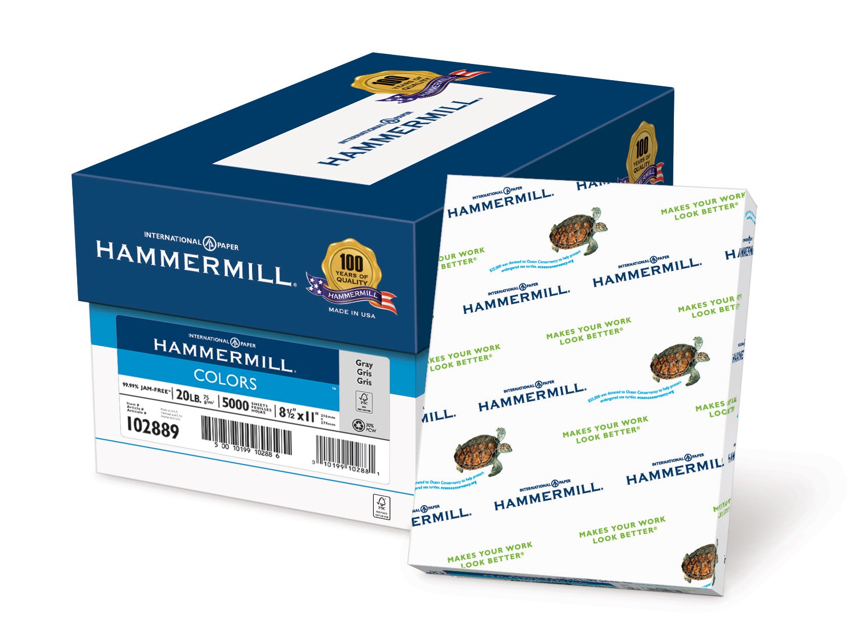 Hammermill Paper, Colors Gray, 20lb., 8.5 x 11, Letter, 5000 Sheets / 10 Ream Case (102889C), Made In The USA