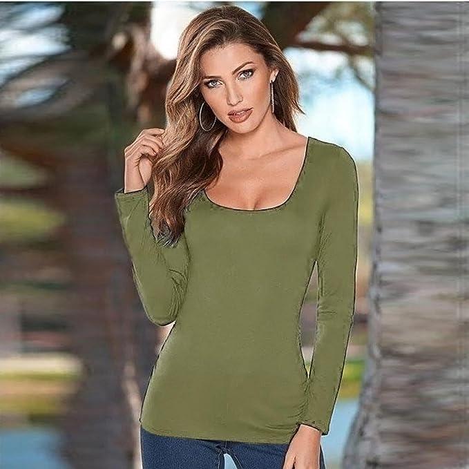 Tongshi Mujeres sin espalda largo manga redondo cuello suéter blusa Tops T Shirt (EU 36 (Asia M), Verde): Amazon.es: Ropa y accesorios