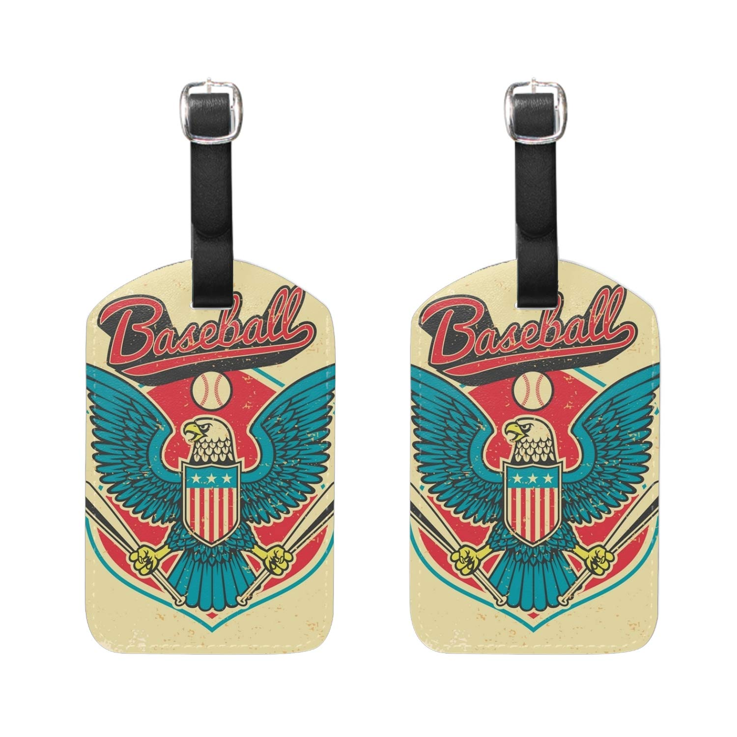 Baseball Eagle Print Luggage Identifiers with Strap Closure