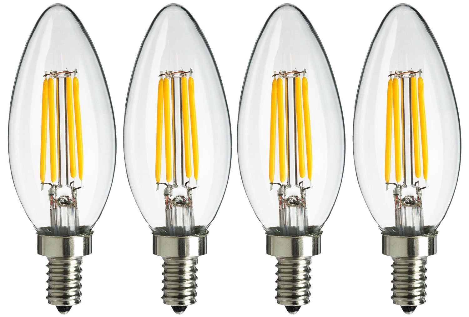 SUNWO LED B11 4W LED Filament Bulb Dimmable Equivalent To 40W Incandescent Bulbs 4 Pack SW-E12-4W-2700K 2700K Warm White E26 Candelabra Base LED Bulb