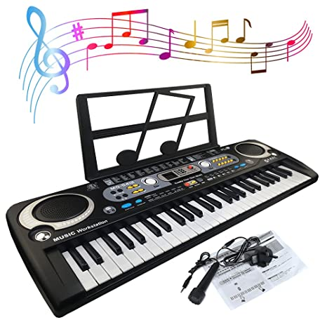 JJPRIME - Teclado de piano digital portátil de 54 teclas Pantalla LED digital con micrófono para