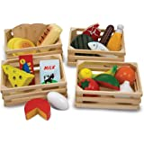Melissa & Doug 271 Food Groups - 21 Hand-Painted Wooden Pieces and 4 Crates