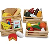 Melissa & Doug Food Groups - Pretend Play, 21 Hand-Painted Wooden Pieces and 4 Crates, 31.75 cm H x 22.225 cm W x 31.75…