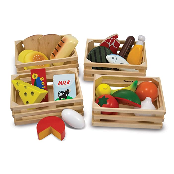 "Melissa & Doug Food Groups - Wooden Play Food, Pretend Play, 21 Hand-Painted Wooden Pieces and 4 Crates, 12.5"" H x 8.75"" W x 12.5"" L"
