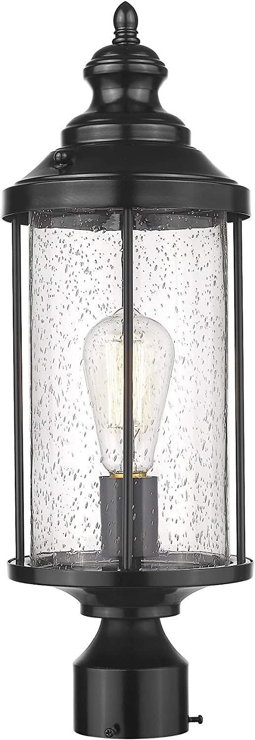 Odeums Outdoor Post Lights Fixture, Exterior Post Sconces, Outdoor Pillar Lights, Porch Post Lighting, Imperial Black Finish with Seeded Glass