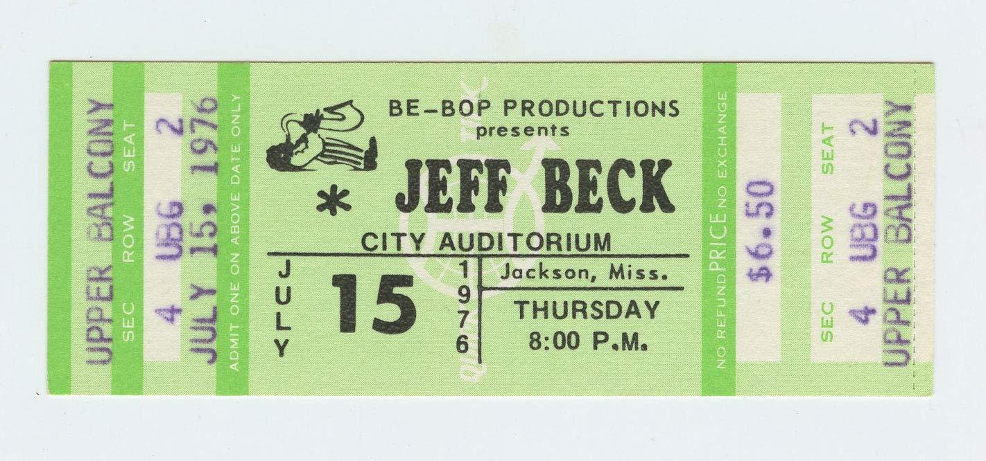 Jeff Beck Ticket 1976 Jul 5 Jackson Mississippi Unused