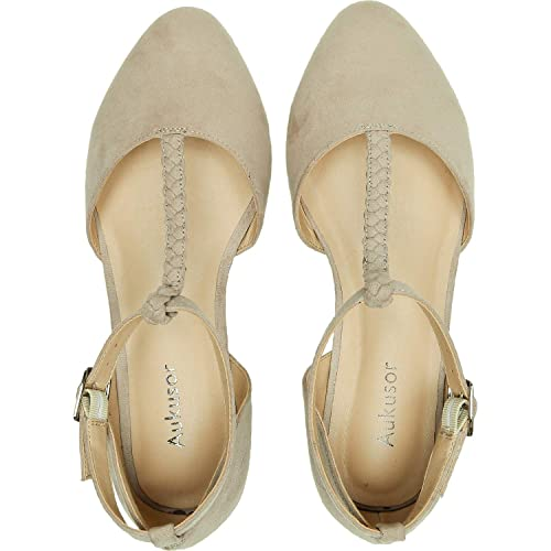 902d0a65db3a8 Aukusor Women's Wide Width Ballet Shoes - T-Strap Pointed Toe Casual ...