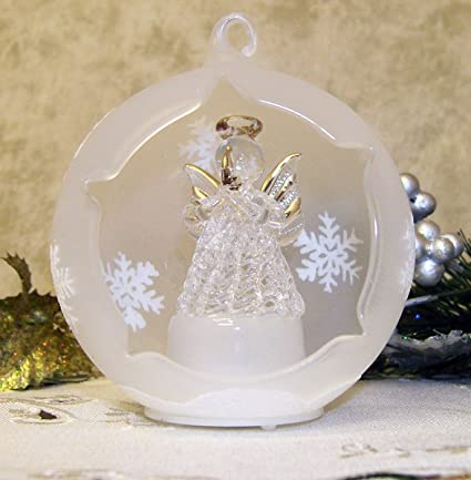 banberry designs angel lighted ornament angel praying in a led frosted glass globe christmas - Glass Christmas Tree Decorations