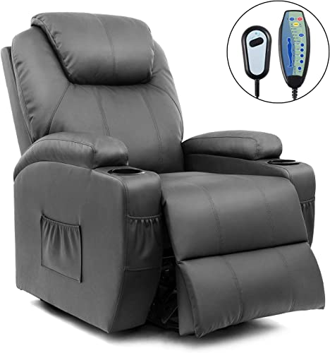 Homall VC-LR84LMP4 Power Lift Recliner Chair with Massage Single Living Room Huge Thick Padded Heating Function Sofa Seat, Gray