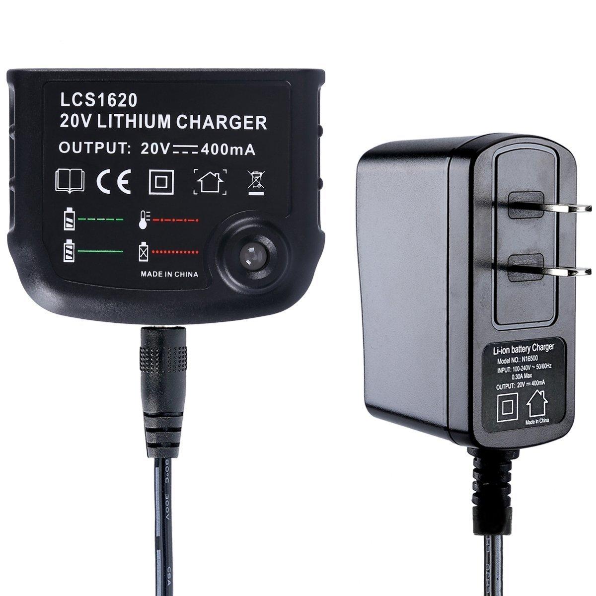 Biswaye 20V Lithium Battery Charger LCS1620 for Black & Decker 16V 20V Lithium Ion Battery LBXR20 LBXR20-OPE LB20 LBX20 LBX4020 LB2X4020 LBXR2020-OPE BL1514 LBXR16 in US Plug