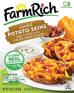 Farm Rich Loaded Potato Skins Stuffed with Cheddar Cheese and Bacon, Made with Real Idaho Potatoes, Frozen, 16 Ounces