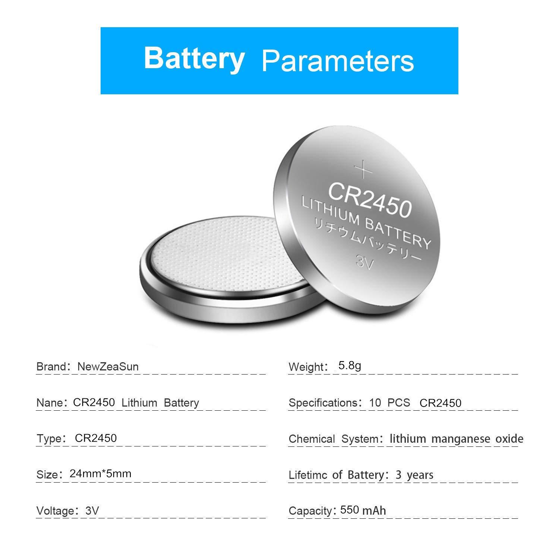 10 Pack CR2450 Battery 3V Lithium for Flameless Candles Window Sensors