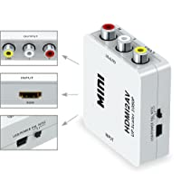 Alexvyan 1080P White HDMI2AV HDMI TO AV 3RCA CVBs Composite Video Audio Converter Adapter