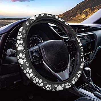 Dog Paw Print Steering Wheel Cover for Women Men Fit Suvs Universal 15 Inch Anti Slip and Sweat Absorption Auto Car Wrap Cover Sedans Vans Trucks Cars