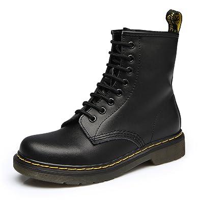 SITAILE Damen Leder Stiefel Winter Boots Gefüttert Klassischer Kurzschaft Stiefeletten Flache Schuhe Sneakers Freizeit Derby Wasserdicht Neuer Stil (36 EU, Schwarzrot)
