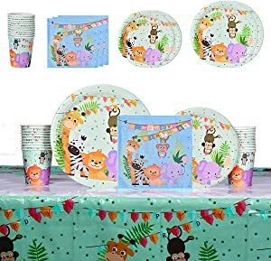 Jungle Safari Themed Party Supplies, Jungle Safari Party Tableware with Dinner Dessert Plates Napkins Cups Table Covers for Baby Shower Kids Birthday Decorations - 20 Guests