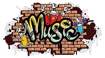 Pegatina de pared sala de los jóvenes Música en estilo graffiti pegatina adolescente sala juvenil deco