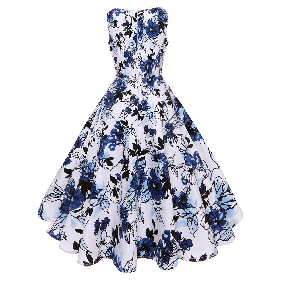 Women Vintage O Neck Floral Print Gown Sleeveless Party Prom Swing Dress Prom Dress HTDBKDBK Hepburn Skirt