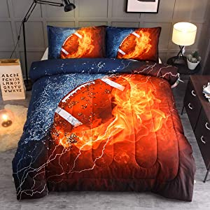 Sisher Bedding Sets,American Football Full Size Comforter Sets,Rugby Comforter Sets for Boys (1 Full Size Comforter + 2 Pillow Shams)