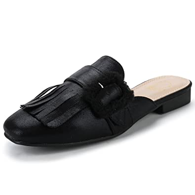 Alexis Leroy Womens Backless Fashion Comfort Casual Mules Slip On Loafers Tassels Low Heeled Flat Slides Sandals