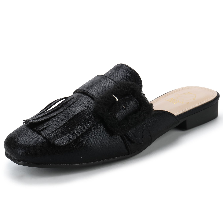 Alexis Leroy Women's Backless Fashion Comfort Casual Mules Slip On Loafers Tassels Low Heeled Flat Slides Sandals Black 39 M EU/8-8.5 B(M) US