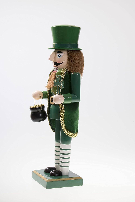 portant Vert tenant Shamrock et pot dor Luck of the Irish 100/% bois D?cor festif Casse-noisette de No?l en bois traditionnel irlandais par Clever Creations 35,6?cm de hauteur