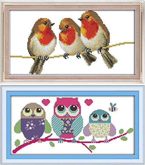 Cross Stitch Kits Three Little Birds Awesocrafts Easy Patterns Cross Stitching Embroidery Kit Supplies Christmas Gifts Birds, Counted Stamped or Counted